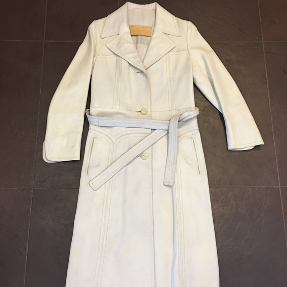 new photos official site search for clearance Vintage white leather trench coat